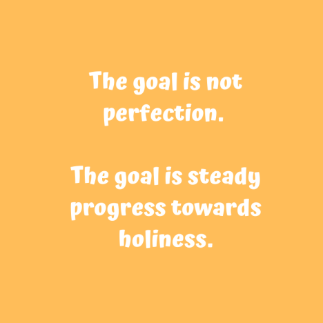 The goal is not perfection. The goal is steady progress towards holiness.